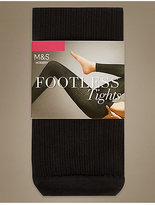M&S Collection Cotton Rich Ribbed Footless Tights