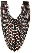 Viktoria Hayman Multi-Tier Tiger Wood Bead Necklace