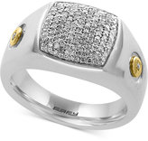Effy Men's Diamond Ring (3/8 ct. t.w.) in Sterling Silver and 18k Gold-Plate