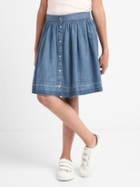Denim snap flippy skirt
