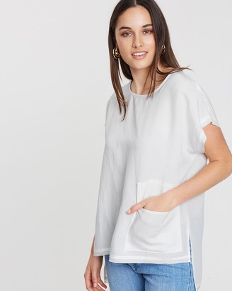 Privilege Women's White Short Sleeve Tops - Slouch Pocket Top - Size One Size, 12 at The Iconic