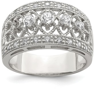 Sterling Silver Cubic Zirconia Vintage Polished Ring by Versil