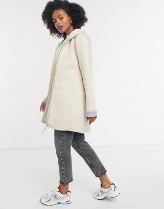 Only lena long line bonded zip up coat in grey