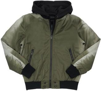 Diesel Hooded Nylon & Cotton Bomber Jacket