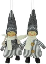 Northlight Set of 2 White and Boy and Girl Decorative Hanging Christmas Ornaments 5.5""