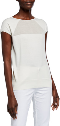 Lafayette 148 New York Sheer Front Cap-Sleeve Top