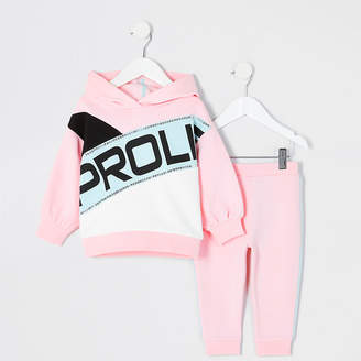River Island Mini girls pink Prolific hoodie outfit