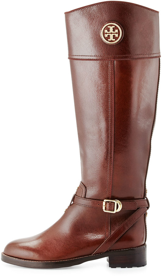 Tory Burch Teresa Logo Riding Boot, Almond