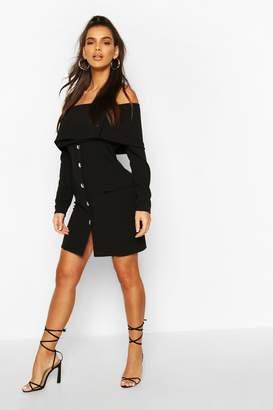 boohoo Bardot Long Sleeve Pocket Blazer Dress