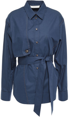 Cédric Charlier Belted Cotton-poplin Shirt