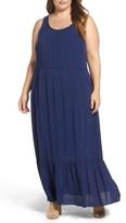 Sejour Plus Size Women's Flounce Hem Maxi Dress