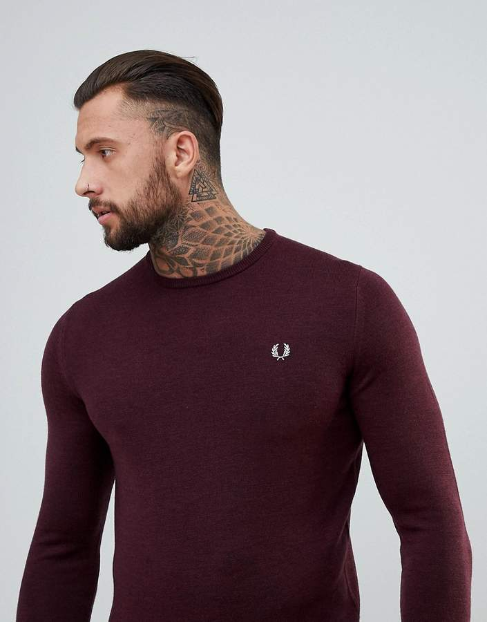 Fred Perry Merino Crew Neck Jumper In Burgundy