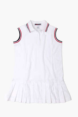 For Tots Girl's Red and Navy Tipped Pique Tennis Dress