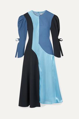 REJINA PYO Tanika Color-block Paneled Satin, Wool And Wool-blend Midi Dress - Blue