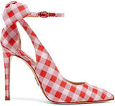 Paul Andrew Fiona Bow-embellished Gingham Canvas Pumps - Red