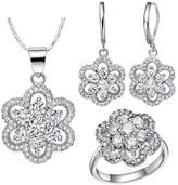YOUTOTCRY 18k Gold Austrian Crystals and Cubic Zirconia Ring Necklace Earrings Jewelry Set