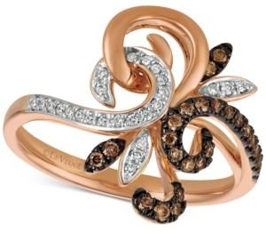 LeVian Le Vian Chocolatier Diamond Fleur-de-lis Inspired Ring (1/4 ct. t.w.) in 14k Rose Gold
