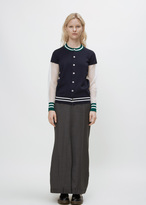 Junya Watanabe navy green sheer knit varsity cardigan