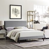 Modway Camille Fabric Platform Bed with Squared Tapered Legs in Light Gray