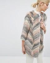Ted Baker Chevron Faux Fur Coat