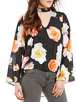 GB Floral Print Choker Neck Bell-Sleeve Top