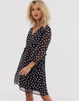 JDY Butta 3/4 sleeve printed smock dress-Navy