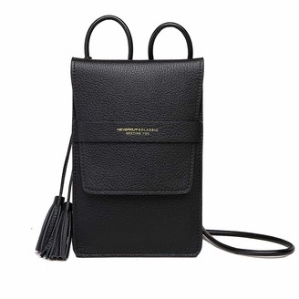 NEVEROUT Women Soft Genuine Leather Cell Phone Crossbody Bag Purse Small with Tassel as Gift (NP2063) (5.3 * 8.0inch-Black)