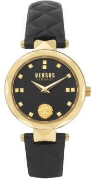 Versus By Versace Women's Covent Garden Petite Black Leather Strap Watch 32mm