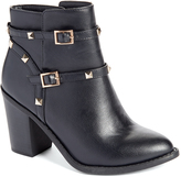 Wild Diva Black Buckle Buffy Ankle Boot