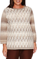 Alfred Dunner Alfred DunnerTwilight Point Long Sleeve Boat Neck Pullover Sweater-Plus