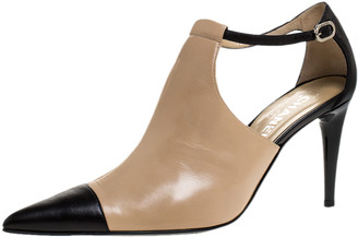Chanel Black/Beige Leather CC Cap Toe Ankle Strap Booties Size 40