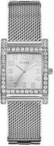 GUESS Women's U0130L1 Enduring Chic Crystal Mesh Silver-Tone Watch