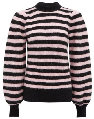 Ganni Striped Balloon-sleeve Wool-blend Sweater - Black Pink