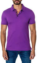Jared Lang Semi-Fitted Short-Sleeve Cotton-Blend Polo Shirt, Purple