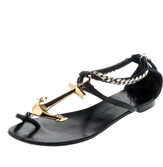 Giuseppe Zanotti Black Leather Gold Anchor Strap Flat Sandals Size 37