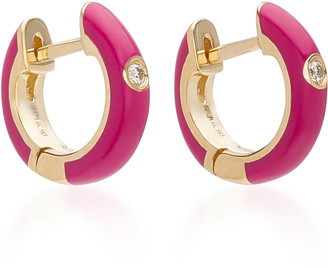 Ef Collection 14K Gold and Diamond Berry Enamel Huggie Earrings