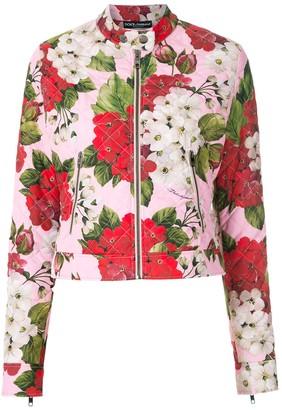 Dolce & Gabbana Geranium-print biker jacket