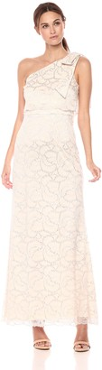 Adrianna Papell Women's Metallic Stretch lace one Shoulder Long Dress