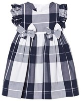 Il Gufo Navy Check Dress with Double Bow Front Detail