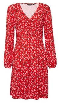 Dorothy Perkins Womens Red Floral Print Ruched Detail Dress, Red