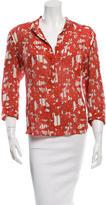 Diane von Furstenberg Printed Silk Button-Up Top