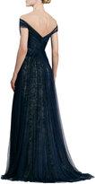Monique Lhuillier Asymmetric Draped Tulle/Lace Gown