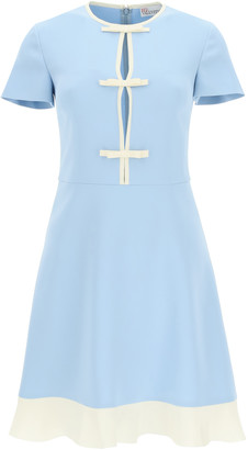 RED Valentino MINI DRESS WITH BOWS 40 Light blue, Beige