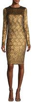 Fuzzi Long-Sleeve Lace-Print Cocktail Sheath Dress, Gold