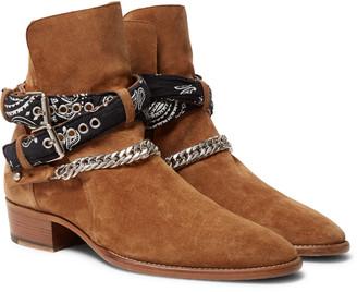 Amiri Bandana And Chain-Detailed Suede Jodhpur Boots