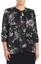 Alex Evenings Plus Two-Piece Floral Jacket and Camisole Set