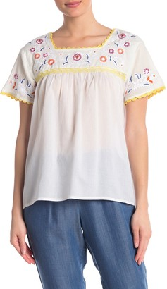 Catherine Malandrino Embroidered Boho Blouse