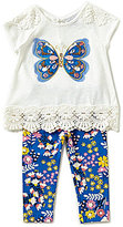 Rare Editions Baby Girls 12-24 Months Butterfly-Applique Top & Printed Leggings Set