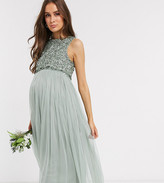 Maya Maternity Bridesmaid sleeveless midaxi tulle dress with tonal delicate sequin overlay in sage green