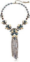 "lonna & lilly Gold-Tone and Blue Multi-Drama Tassel Y-Shaped Necklace, 16"" + 4"" Extender"